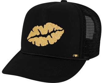 glitter kiss trucker hat (multiple colors)