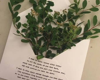 Letter Poem with painting or pressed leaves