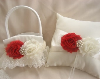 Valentine Flower Girl Basket, Ring Bearer Pillow, Valentine Wedding Ring Pillow Red and Ivory or White Valentine Wedding