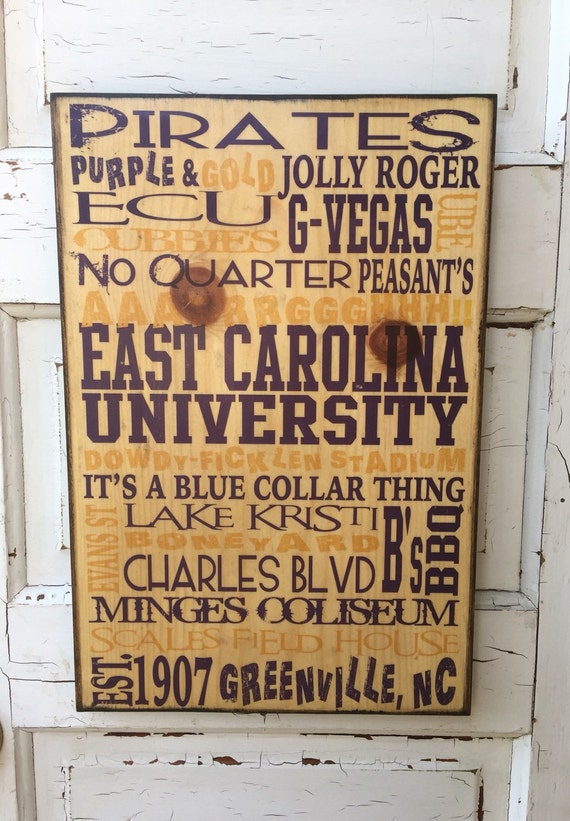 East Carolina University Pirates Sign On Wood- ECU Art On Wood- Pirates Subway Art- Greenville NC Art- Art For College Student- Gift For Dad