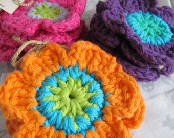 Funky flower coasters (set of 4) / pink and orange flower power coasters / mod flower cotton crocheted coasters / purple flower decor