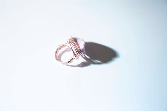 "Pink Statement Ring, ""Messy-Wrapped"" in rose-gold coloured copper wire, handmade, boho, hippie, gypsy"