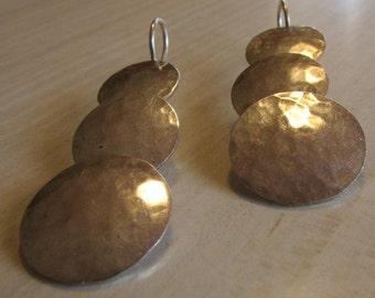 Hammered Sterling Silver Dangle Hook  Earrings
