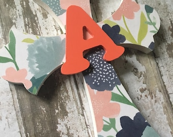 Girls Baptism Cross, Wooden Cross, First Communion Cross, Personalized Wall Cross, Girls Baptism Gift, navy and coral, First Communion Gift,