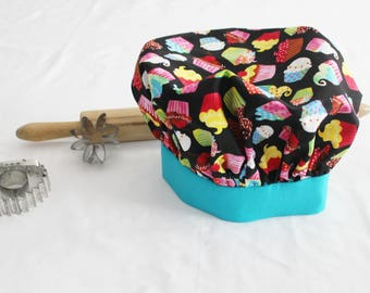 Colorful Cupcakes on Black Child Chef Hat with Teal Band - Adjustable