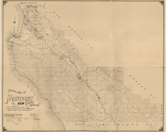 Monterey County California 1898 - Old Wall Map Reprint with Farm Lines