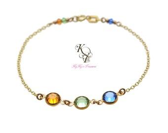 Solid Gold Bracelet - 14k Gold Bracelet - Birthstone Bracelet - Fine Jewelry - Mother Bracelet - Grandma Bracelet - Gold Birthstone Bracelet