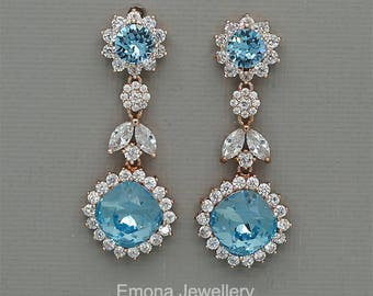 Blue Wedding Earrings, Swarovski Aquamarine Crystal Earrings, chandelier Earrings, Sky blue Bridal Earrings in rose Gold and silver
