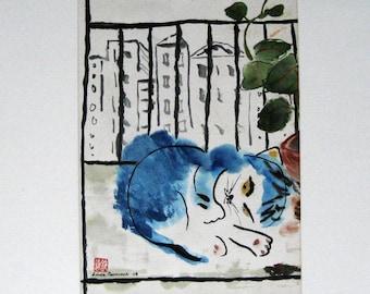 Original Blue Cat Watercolor - New York Cat