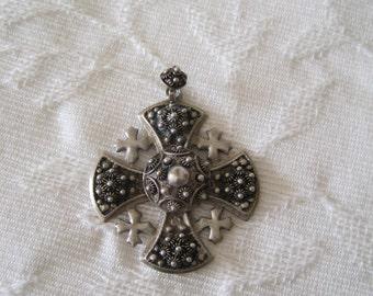 Sterling Silber 950 Jerusalem Jordan Cross Anhänger kunstvollen Design Malteserkreuz