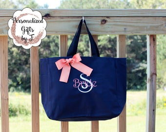 11 Personalized Bridesmaid Gift Tote Bags Personalized Tote, Bridesmaids Gift, Monogrammed Tote, Maid of Honor Tote Bag, Wedding Day Tote