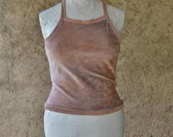 Halterneck top pink crop yoga clothing organic cotton velvet earthy dusky festival spiritual gatherings minimalist hand dyed boho backless