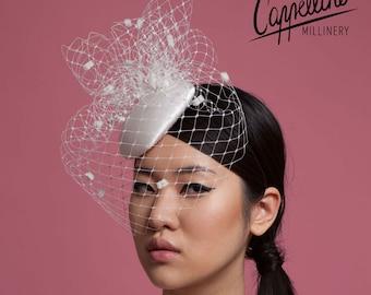 Bridal Fascinator with Spot Birdcage Veil: 'Beatrix'