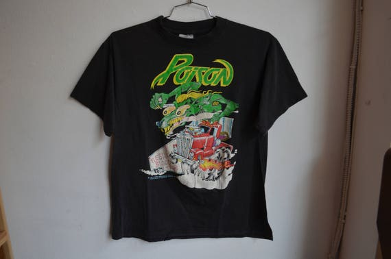 LARGE Vintage 1990 Poison Flesh and Blood (Front and Back) T-Shirt kOWq8rO
