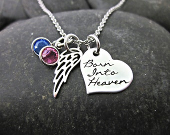 Born into Heaven - Miscarriage Necklace - Remembrance Necklace