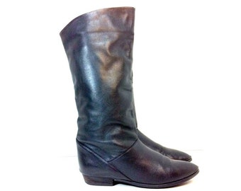 80s Leather Riding Boots 7 - Tall Black Boots 7 - Vintage Biker Boots Black Leather 7