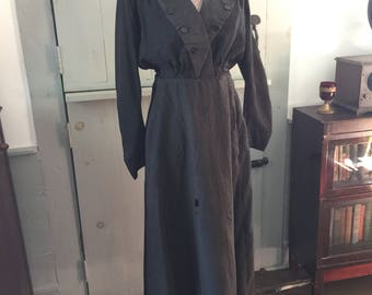 Vintage Edwardian two piece cotton black dress