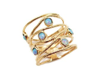 Gold opal ring. Opal ring. Opal gold ring. Wide ring. Wide gold ring. Wide opal ring. Wave gold ring. Wave opal ring. Opal jewelry. Gift for