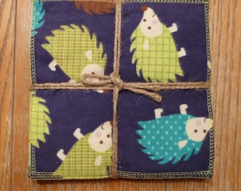 Cloth Wipes, Cloth Diaper Wipes, Cloth Baby Wipes, Baby Washcloth, Reusable Wipes, Set of 12, Hedgehog
