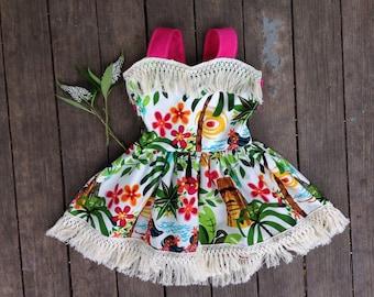 Hula Girl Summer Dress for Babies size 6-12 months through girls size 8, open back and fringe, Hawaiian Motif