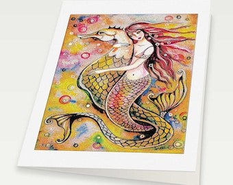 mermaid art, mermaid print, mermaid wall art affordable art gifts, woman card, blank art card, 6x8