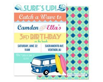 RETRO SURF Birthday Party - Vintage, Boy/Girl theme - Customized Digital or Professional Printed Invitation