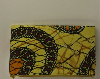 Casual Clutch/Brown/Faux Leather Clutch/African Fabric/Afrocentric