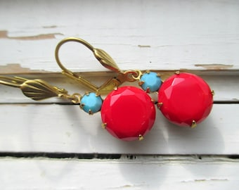 Ruthie,  bright, cheerful red and blue vintage cabs dangle earrings, classic Nordic holiday colors