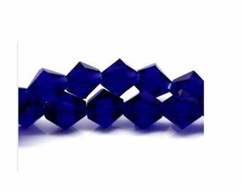 set of 10 beads dark blue crystal glass 6 mm x 6 mm