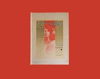 "Memorial Day Sale Topicuv Salon, PL 100 by Czech Artist Vaclav Oliva (1861-1928) Nouveau Advertising Art Nouveau Lithograph Poster 11.5"" x 1"