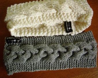 Headband, ear muffs, headband, head warmer knitted, white/gold or silver/gray