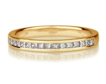 0.40 Carat Diamond Wedding Band, 14K Gold Wedding Ring, Princess Cut Diamonds, Channel Set Wedding Band, Womens Wedding Band