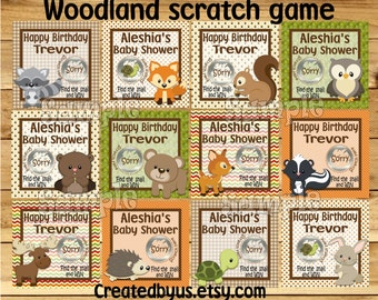 Woodland Scratch off card game Baby boy Shower Game Scratch tags Birthday Party Scratch off gamel lotto Favor Scratch off 12 Precut printed
