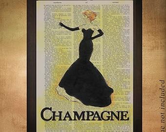 Champagne Dictionary Art Print, Food Art Champagne Decor Bar Art Wall Decor Wine Home Gift Ideas da1083