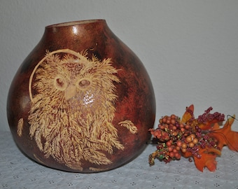 SALE Hand Carved Owl Gourd Bowl