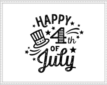Rubber stamp HAPPY 4TH OF JULY