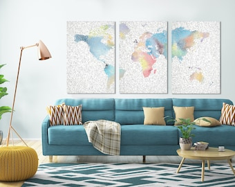 World Map Canvas, World Map Print, World Map Mosaic, Set Of 3 Prints, Large World Map, Large Mosaic Print, Large Wall Art, World Map Decor