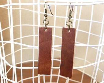 Brown Bars | bar earrings, leather earrings