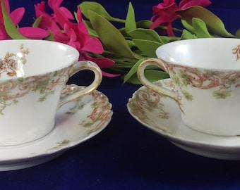 Antique Theodore Haviland Limoges Tea Cups