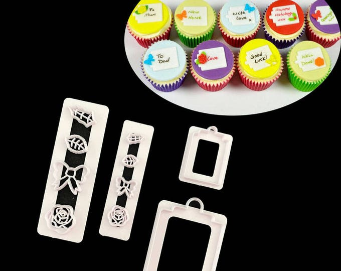 Gift Tag Cookie Cutter Set - P079 - Banner Streamer Mold Party Biscuit Gumpaste Fondant Sugarcraft Sugar Cutter bow Rose Flower Leaf