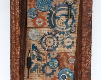 Assemblage Art - Altered Book Art - Gears