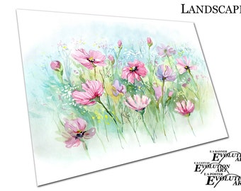 illustration watercolour pink Daisy's Summer flowers Poster Print X1047