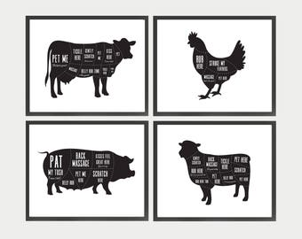 Vegan Art, Vegan Butcher Diagrams, Funny Kitchen Art, Vegan Animal Prints, Gift for Vegan