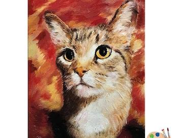 Custom Pet Portraits , Cat Portraits, Siamese Cat Oil Portraits on Canvas or as Canvas Prints