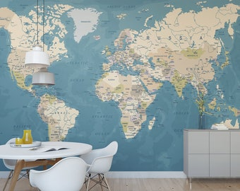 Wall mural etsy world map temporary wall mural political map removable wallpaper globe self adhesive wall mural gumiabroncs Images