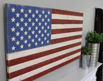 Rustic Wooden American Flag - Patriotic Distressed Art Sign - Carved Stars