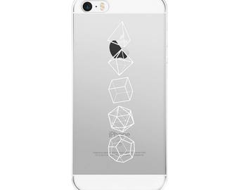 White Platonic Solids iPhone 7/7 Plus Case Clear Sacred Geometry Phone Case Minimalist Style Geometric Art Simple Shapes iPhone Case