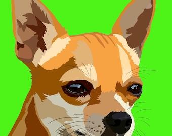 Chihuahua printable art - Chihuahua print - Chihuahua wall art - Printable art - Chihuahua digital art - dog art