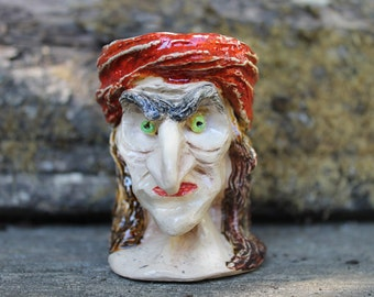 Sculptural Witch ceramic Halloween Candle holder, old witch egg cup, spooky Candle holder, clay art, Halloween decor, creepy egg cup
