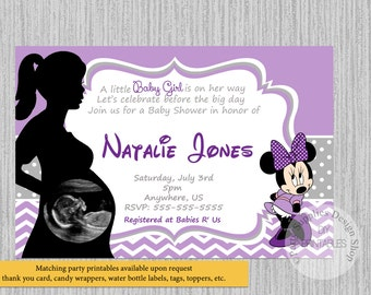 Minnie mouse baby shower invites etsy printed or digital lilac minnie mouse baby shower invitations ultrasound minnie baby shower invitations baby shower supplies chevron filmwisefo